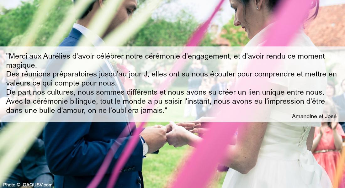 Témoignage Mariage Amandine et Jose-aurelie cousseau cérémonie