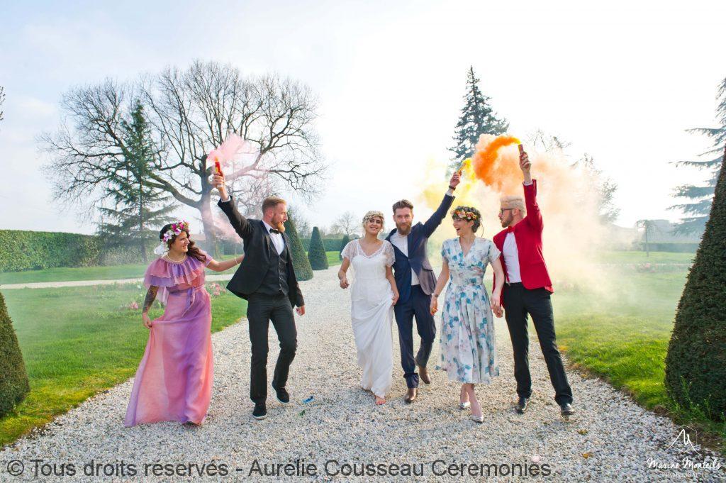 fin de cérémonie -Shooting-Inspiration-Mariage hipster-Château-Frombauge-Marine-Monteils-Photographe-aurelie cousseau cérémonies