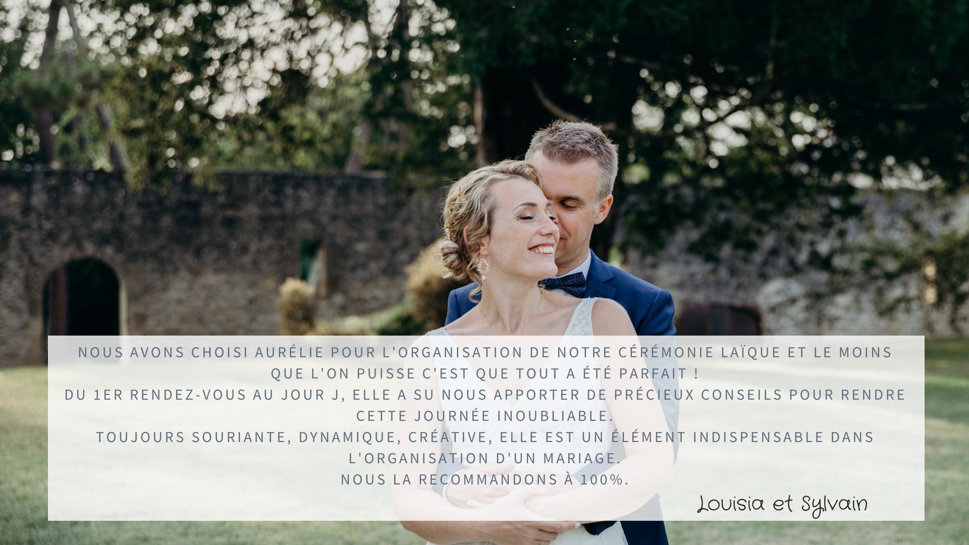 Nous avons choisi Aurélie pour l'organisation de notre cérémonie laïque et le moins que l'on puisse c'est que tout a été parfait ! Du 1er rendez-vous au jour J, elle a su nous apporter de précieux conseils pour rendre cette journée inoubliable. Toujours souriante, dynamique, créative, elle est un élément indispensable dans l'organisation d'un mariage. Nous la recommandons à 100%. Louisia et Sylvain 😘😘